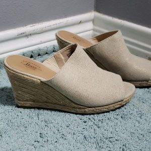 Bass wedges shimmery beige fabric with peep toe